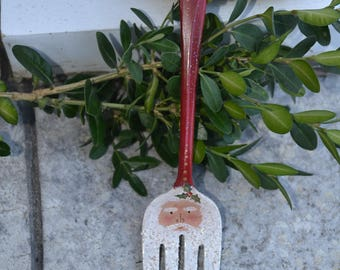 Serving Fork Santa Ornament/Painted Fork/Santa Fork/Vintage Silverware