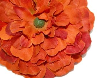 1 Red Orange Silk Zinnia - Arrtificial Flowers, Silk Flowers