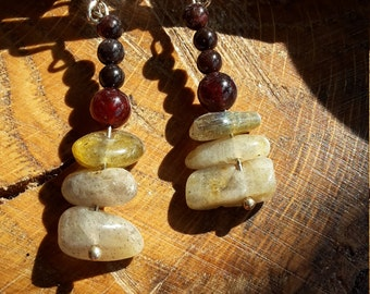 Gold Flash (Yellow) Labradorite, and Garnet, Sterling Silver Plated Earrings! ~Boho, Witch, Mystic, Jewelry