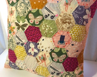 Fairytale Quilted Pillow Case, Hexagon, Paper Pieced Patchwork, Scrappy, 100% Cotton HAND MADE