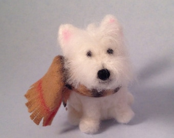 West highland terrier wearing a plaid scarf needlefelted figurine