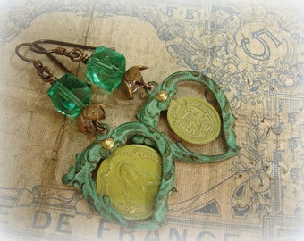 color washed saints one of a kind vintage assemblage earrings faceted deco beads vintage brass flower cap chartreuse enamel holy medals