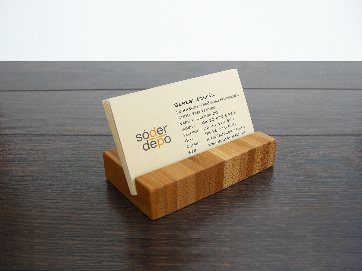 Wood Business Card Holder. Bamboo Business Card