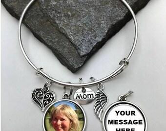 Two-Sided Mom Memorial Photo Charm Bracelet, Two-Sided Charm Bracelet, Personalized Bracelet, Memory Bracelet,