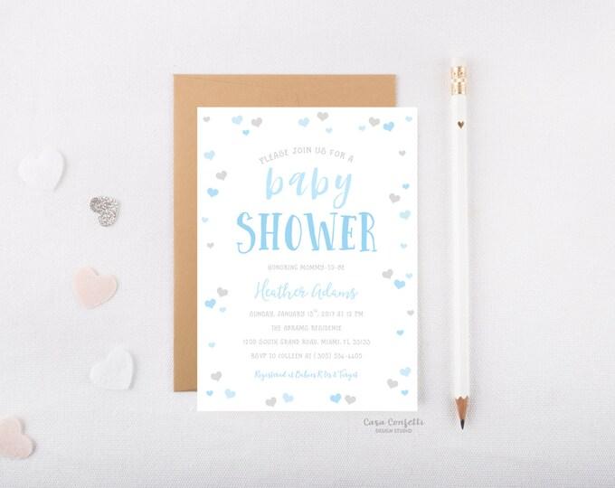 Boy Heart Confetti Baby Shower Invitation, Blue and Gray Baby Boy Shower Invite, Blue Ombre Printed or Printable Invite