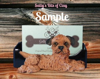Border Terrier dog Business Card Holder / Iphone / Cell phone / Post it Notes OOAK sculpture by Sally's Bits of Clay