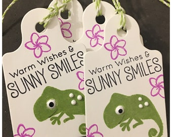 Handmade Tropical Birthday All Occasion Spring Gift Tags Hawaiian Gecko Plumeria Flowers Warm Wishes Sunny Smiles set of 4