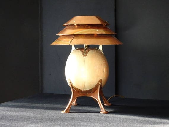 Copper And Wood U0027Pot Bellyu0027 Table Lamp (Male)