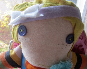 Blondie Flapper Scraparella Upcycled fabric and felt handmade doll stuffie