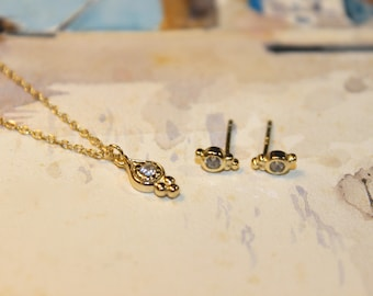 Dainty Petite Vermeil 'Persephone' Necklace and Earrings