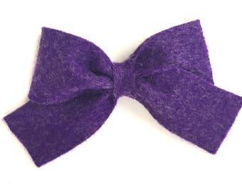 Purple felt hair bow- felt bow, purple hair bow, hair bows, girls bows, baby bows, felt bows, bows, girls hair bows, felt hair bows, bows