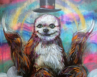 """Sloth Art - Giclee Canvas Art Print 