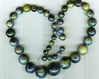 Stabilized Chrysocolla Graduated Round Beads 8mm-20mm AA Quality ID2