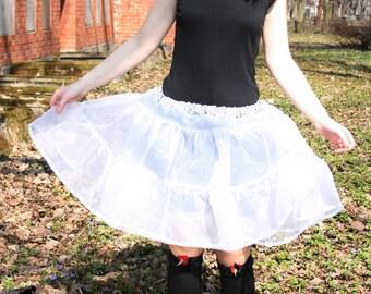 White tutu, white crinoline skirt, white cosplay organza skirt, see through skirt, petticoat, white petticoat, white lolita underskirt MASQ