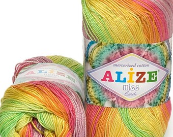 MİSS BATİK Alize 100% mercerized cotton yarn for crochet and knitting  50g - 280m