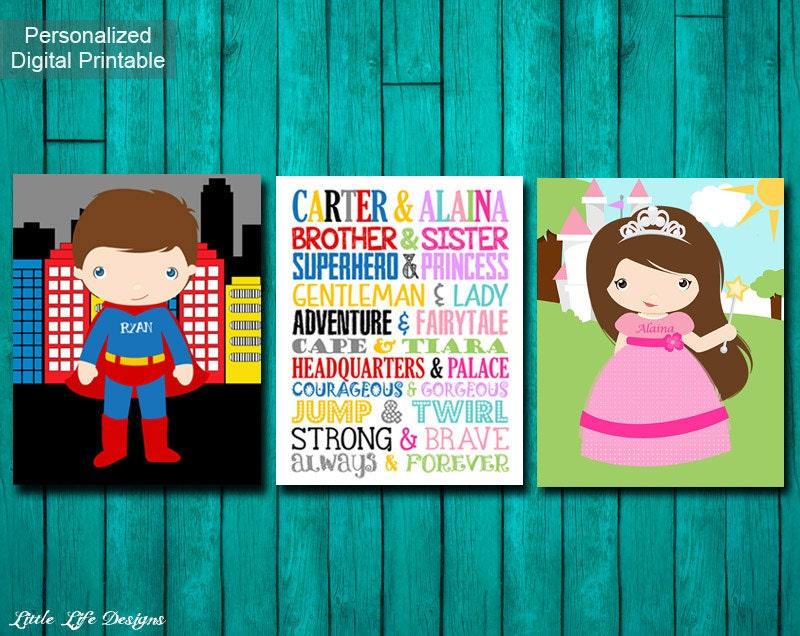 Brother & Sister. Superhero and Princess. Sibling Wall Art.