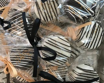 Black White and Gold Drizzled Chocolate Covered Oreos