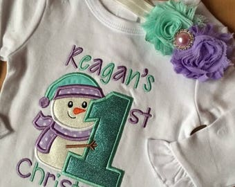 First Christmas Embroidered Bodysuit
