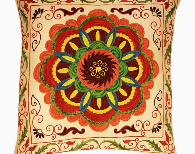 Suzani Pillow, Suzani Silk Pillow Cover SP3 (SP7-20), Uzbek Suzani, Suzani, Decorative pillows, Accent pillows, Designer Pillows