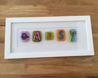 Daisy, personalised gift, christening gift, personalised fused glass