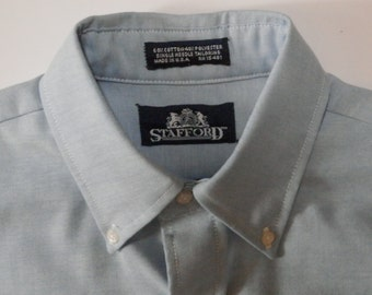"Solid Denim Blue Color STAFFORD Long Sleeve Button Up 14"" Collar 40 Chest Preppy 60% Cotton 40 Polyester Dress Office Business Menswear EUC"