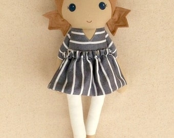 Fabric Doll Rag Doll 20 Inch Light Brown Haired Girl in Denim Blue and White Stripe Dress with Pink Shoes