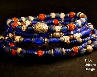 Set of 6 men's bracelets made of blue recycled glass beads, bones beads, and brass beads, by Tribu Urbaine Design.