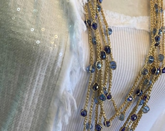 Knitted Necklace Crystal Blue