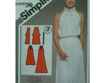 "Open Shoulder Dress Pattern, Drawstring Neck, A-line, Knit, 1980s, Evening Wear, Simplicity No. 9823 Size 6 8 (Bust 30.5-31.5"" 78-80cm)"
