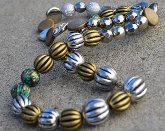 Handmade, beads, silver, gold and teal