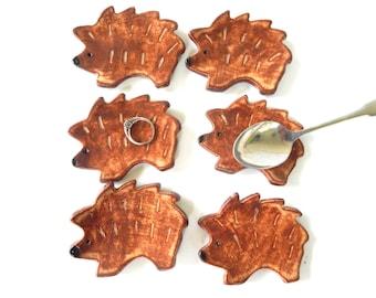 made to order - Hedgehogs- Coffee Spoon Rests - Hedgehog Favors - trinket dishes - Tea bag rests- Ring Holders- wedding favors- shower favor
