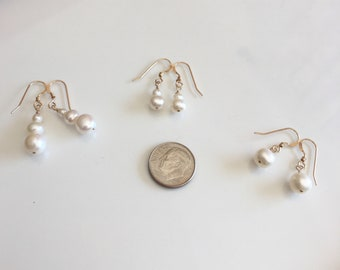 Pearl drop earrings, freshwater pearls, gold filled