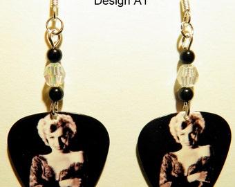 MARILYN MONROE (4 Styles) Guitar Pick Beaded Earrings - Handmade in USA