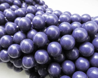 30 Vintage 10mm Bright Navy Blue Acrylic Beads Bd1105