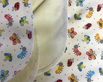Butterfly & Caterpillar hemstitch flannel baby blanket and burp cloth, double sided flannel receiving size 36x40. Perfect swaddle.