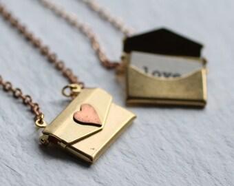 Personalised Envelope Locket, Letter Necklace, Envelope Pendant, Envelope Necklace, Secret Letter Necklace, Customized Locket