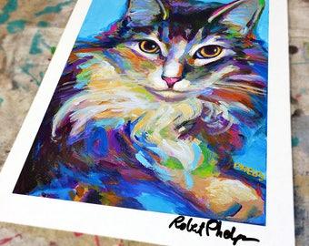 Psychedelic MAINE COON ART Print by Robert Phelps; Ragdoll, Ragdoll Cat, Maine, Custom Pet portrait, Pet portrait, Cat, Home Decor, Blue