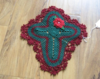 Christmas Holiday Cross Doily with Rose Flower Green Burgundy Crochet Religious Crocheted Handmade Home Decor Night and Day Crochet