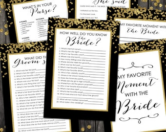 Bridal Shower Games Pack - INSTANT DOWNLOAD - Printable Gold Confetti Gatsby Art Deco 1920s Wedding Shower Game Set, by Sassaby Weddings