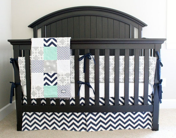 Navy Grey Nursery Bedding Set Baby Boy Crib