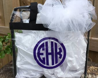 Game Day Zip Purse, monogram clear purse, personalized stadium bag, game day bag, stadium purse, max capacity bag 12x12x6