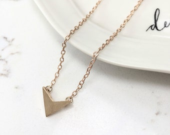 Arrow Head Triangle Chevron Dainty Necklace - Gold Or Silver