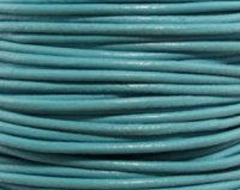 """2mm Round Turquoise Leather Lace Cord - 2mm 3/32"""" Diameter Teal Aqua Blue Craft Jewelry Bracelet Wrap Necklace - I ship Internationally"""