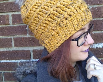 Bulky Beanie - Beanie - Pompom hat - Ribbed hat - Hat with brim - Winter hat - Warm hat - Made to order