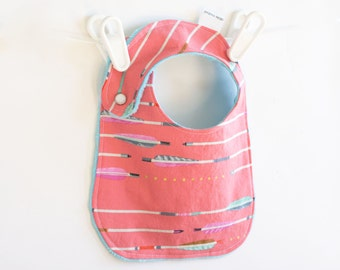 Girl Baby Bib, Adjustable Bib with Minky Pink Metallic Arrows