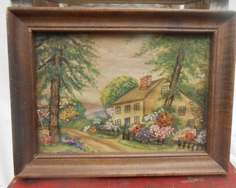 Antique Needlework Hand Painted Fabric with Embroidery Folk Art