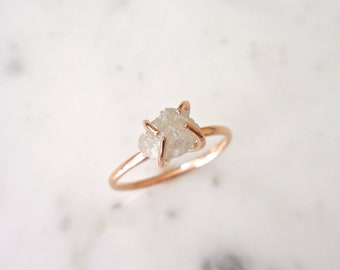 Raw Diamond Ring, Made to Order, 14kt Rose, White or Yellow Gold, Icy White/Gray, Rough Raw Diamond, Modern Diamond, Natural, Conflict Free