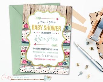Tribal Baby Shower Invitation, Baby Shower Invitation, Aztec Baby Shower Invitation, Arrows Baby Shower Invitation, Girl Baby Shower