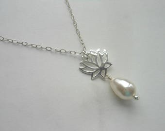 Lotus Flower Necklace with Pearl, Mothers Day Gift, Sterling Silver, Necklace for Mom, Mother of the Groom, Swarovski Crystal