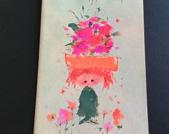 VTG (Unused)  Birthday Greeting Card, Little girl with flower hat, Forget me not
